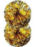 2 Packung Cheerleading Pompoms Metallisch Blume Ball Folie Kunststoff Ringe Pom Poms für Cheer, Tanzen Team