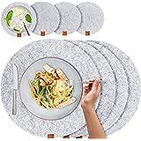 Miqio® - Set de Table Design 8 Pièces - Feutre et Cuir - Rond 37 cm - pour 4 Personnes, Lavable, 4 Sets, 4 Dessous de Verres
