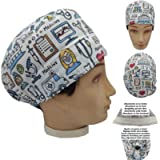 Scrub hat theatre cap MEDICAL INSTRUMENTS for Short Hair with sweatband and ajutable to your liking Surgery, Nurse…