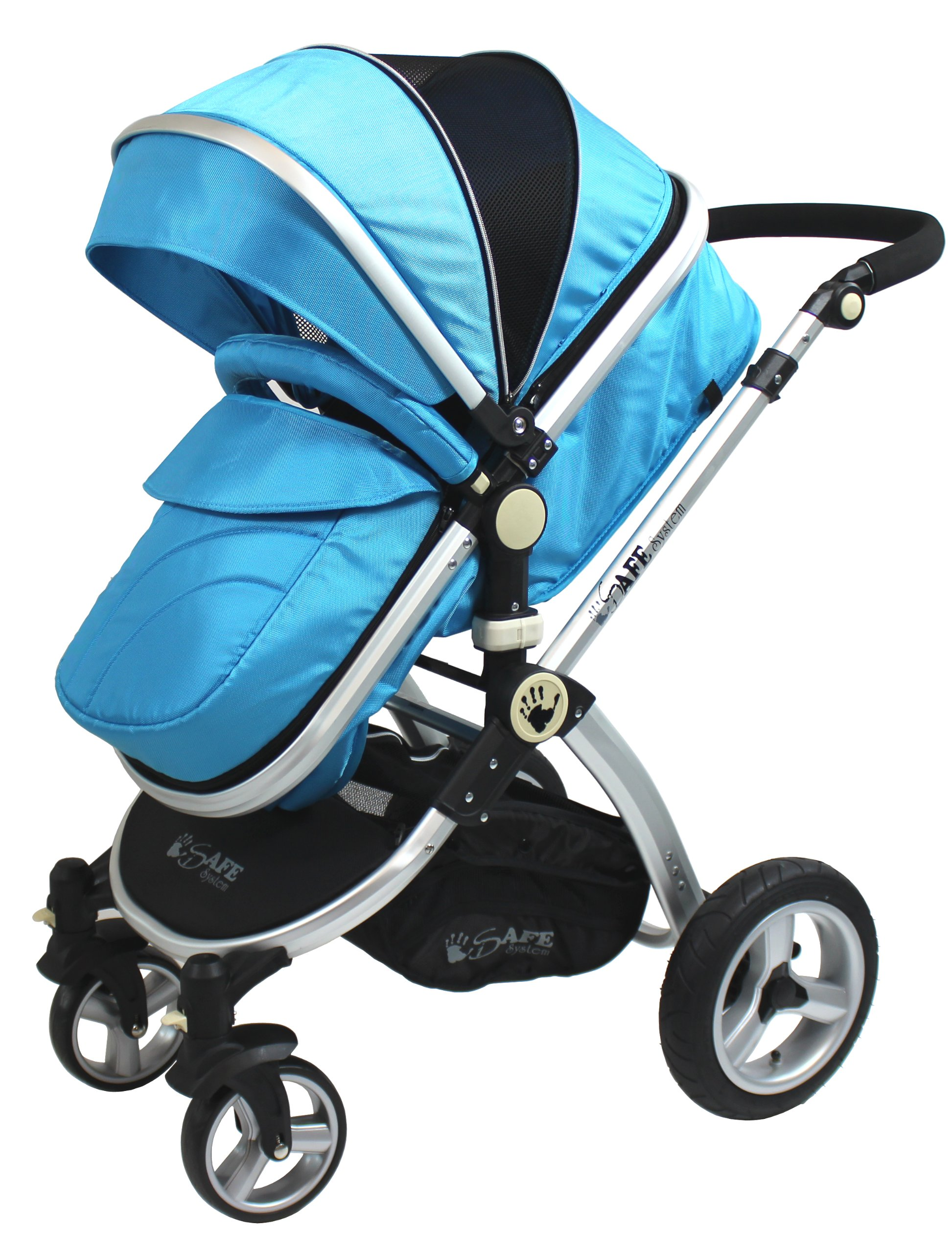 iSafe 2 in 1 Baby Pram System Complete (Ocean) iSafe We Are Proud To Present One Of The Finest 2in1 Stroller/Pram/Pramette/Travel System in the UK & Europe! 2 in 1 Stroller / Pram Extremely Easy Conversion To A Full Size Carrycot For Unrivalled Comfort. Complete With Boot Cover, Luxury Liner, 5 Point Harness, Raincover, Shopping Basket With Closed Ziped Top High Quality Rubber Inflatable Wheels With The Full All around Soft Suspension For That Perfect Unrivalled Ride 1