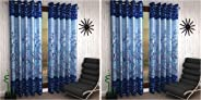 Home Sizzler 2 Piece Eyelet Polyester Door Curtain - 7ft, Blue & Shalimar Frill Panel Garden 2 Piece Eyelet Polyester Window