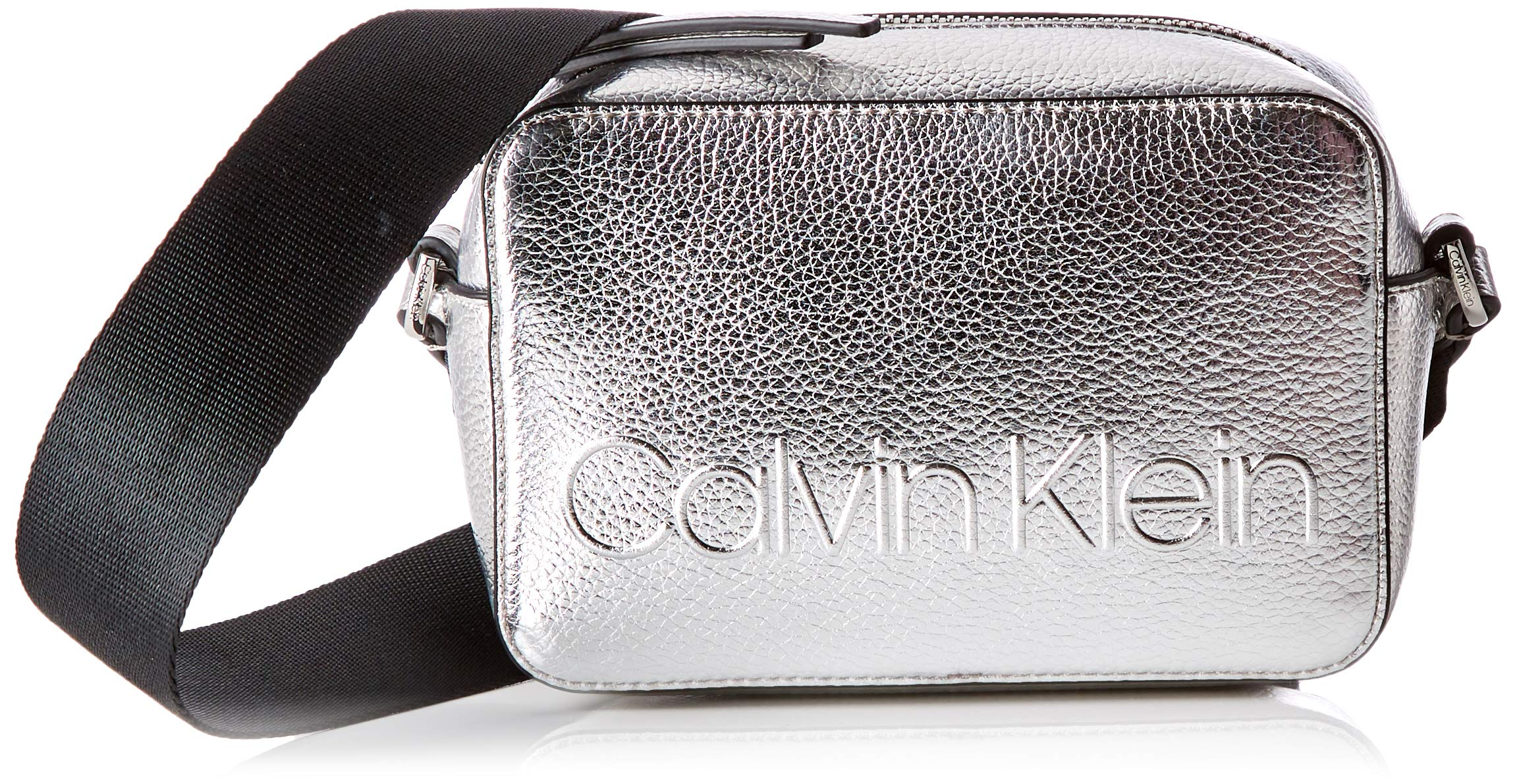 Calvin Klein – Edged Camera Bag Met, Bolsos bandolera Mujer, Gris (Silver), 7x12x18 cm (B x H T)