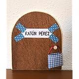 Ratoncito Pérez. La auténtica puerta mágica. Con una preciosa bolsita de tela azul para dejar el diente. El Ratoncito Pérez,
