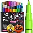 Artistro marqueur Acrylique stylos acryliques - 42 Couleurs - Marqueurs Peinture Acrylique - Feutre Acrylique Pointe Fine 0.7