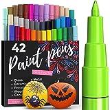 ARTISTRO Set van 42 gekleurde acrylstiften voor het beschilderen van stenen, acrylverf, viltstiften 0,7 mm, extra fijne punt,