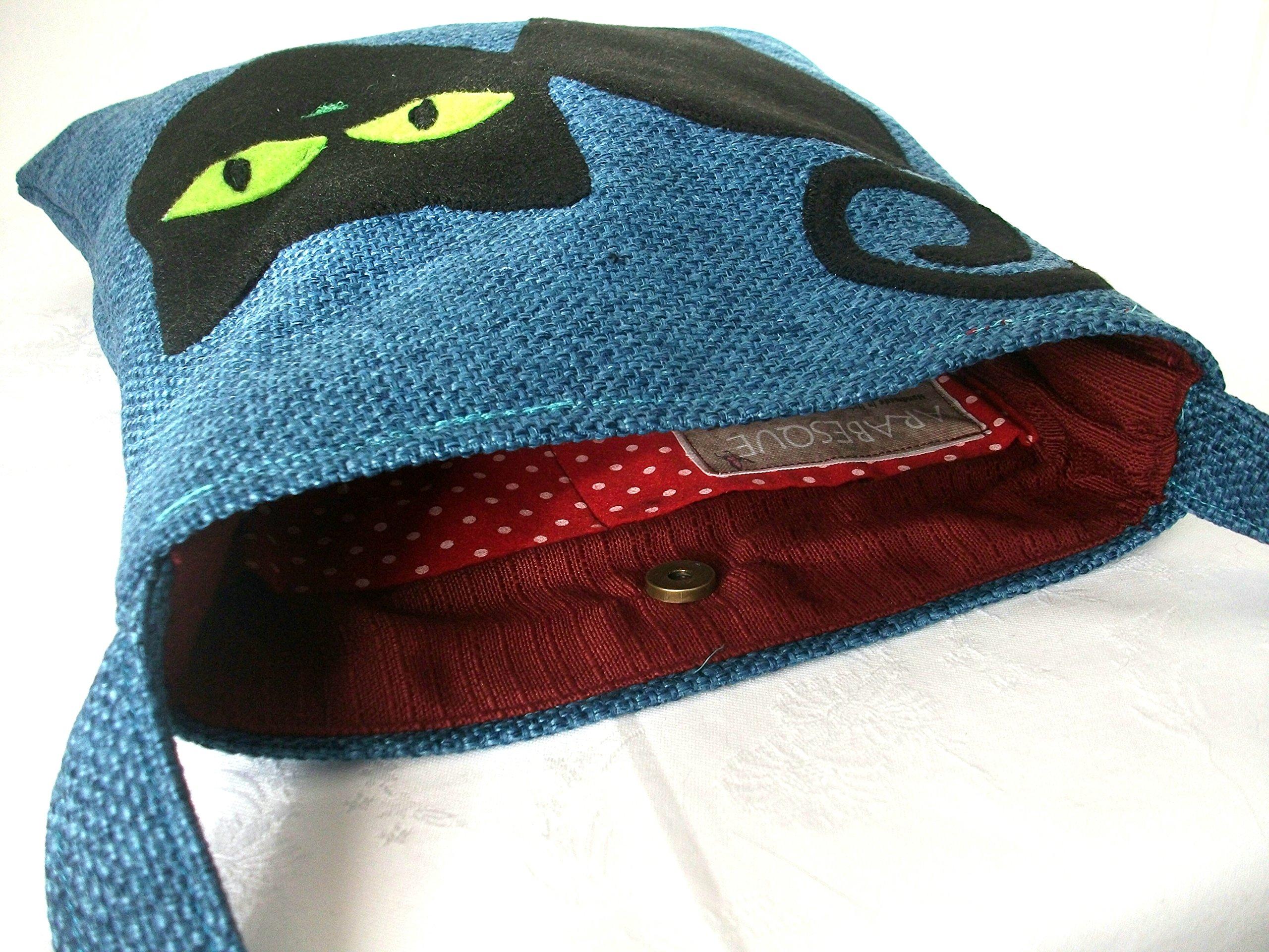 Grey Shopper Shoulder bag with felt black cat - handmade in Italy - handmade-bags