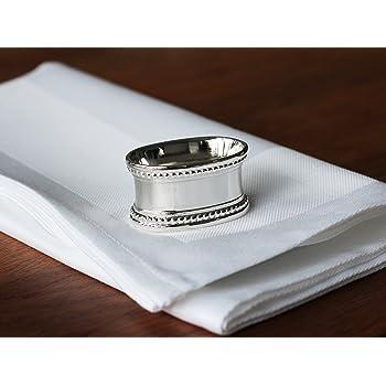 Serviettenringe Silber Oval 4er Set Perle Hochzeit Vintage