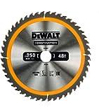 DeWALT DT1957250x 30mm x 48T–Lame de scie circulaire de chantier–Jaune