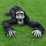 Halloween Zombie Trepador Romper-el-Suelo (Blanco) con Sonido Espeluznante y Ojos Iluminados para Decoración de Exteriores, C