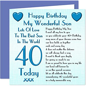Son 40th Happy Birthday Card   Lots Of Love To The Best Son In The