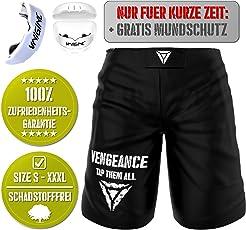Vengeance MMA Premium Shorts + GRATIS MUNDSCHUTZ (Werbeaktion) für MMA, BJJ, No Gi Grappling, Boxen, Kickboxen, Kampfsport - Kurze Hose für Damen/Herren - reißfestes Material - höchste Qualität