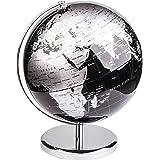 Exerz Världsglob (dia 30 cm) – utbildnings-/geografisk/modern skrivbordsdekoration – med metallbas – metallisk svart (diamete