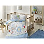 TAÇ 60180940 Ranforce Bebek Nevresim Takımı, Happy Zoo, Mavi