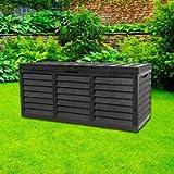 GR8 Garden 320 Litre Black Plastic Storage Box Lid Patio Shed Utility Cushion Chest Wooden Fence Panel Effect Large…