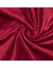 Encasa Homes Velvet Solid Dyed Fabric Decorative Soft Smooth Silky Cloth for Sofa, Furnishing, Upholstery, Curtains, Cushions and Craft 100 x 140 cm - Red