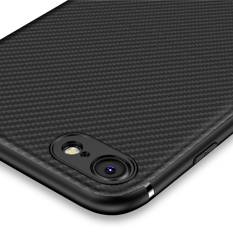 a137f44628f Funda iPhone 8, Funda iPhone 7, J Jecent [Textura Fibra de Carbono] Carcasa  Ligera Silicona Suave TPU Gel Bumper ...