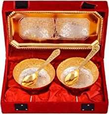 German Silver & Gold Bowl with Spoon and Tray (Set of 5 Pics, Gold) with Velvet Box Packing