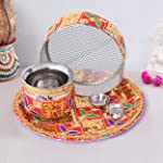 TIED RIBBONS Karwachauth Pooja thali Set - Karwa chauth Thali Gift Set for Wife Daughter and Daughter-in-Law