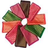 Women's Cotton Blend Multicolor Unstitched Blouse Materials 1 meters Each (Pack of 10 Pieces, Free Size)