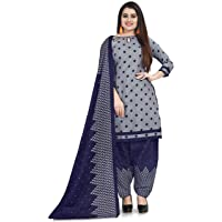 Rajnandini Women's Grey Cotton Printed Salwar Suit Material With Printed Dupatta (Free Size_Unstitched_Grey)