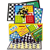 SARTHAM 4 in 1 Board Games for Kids - Ludo, Snake and Ladder, Chess and Racing (Special Edition 30 x 30 cm)