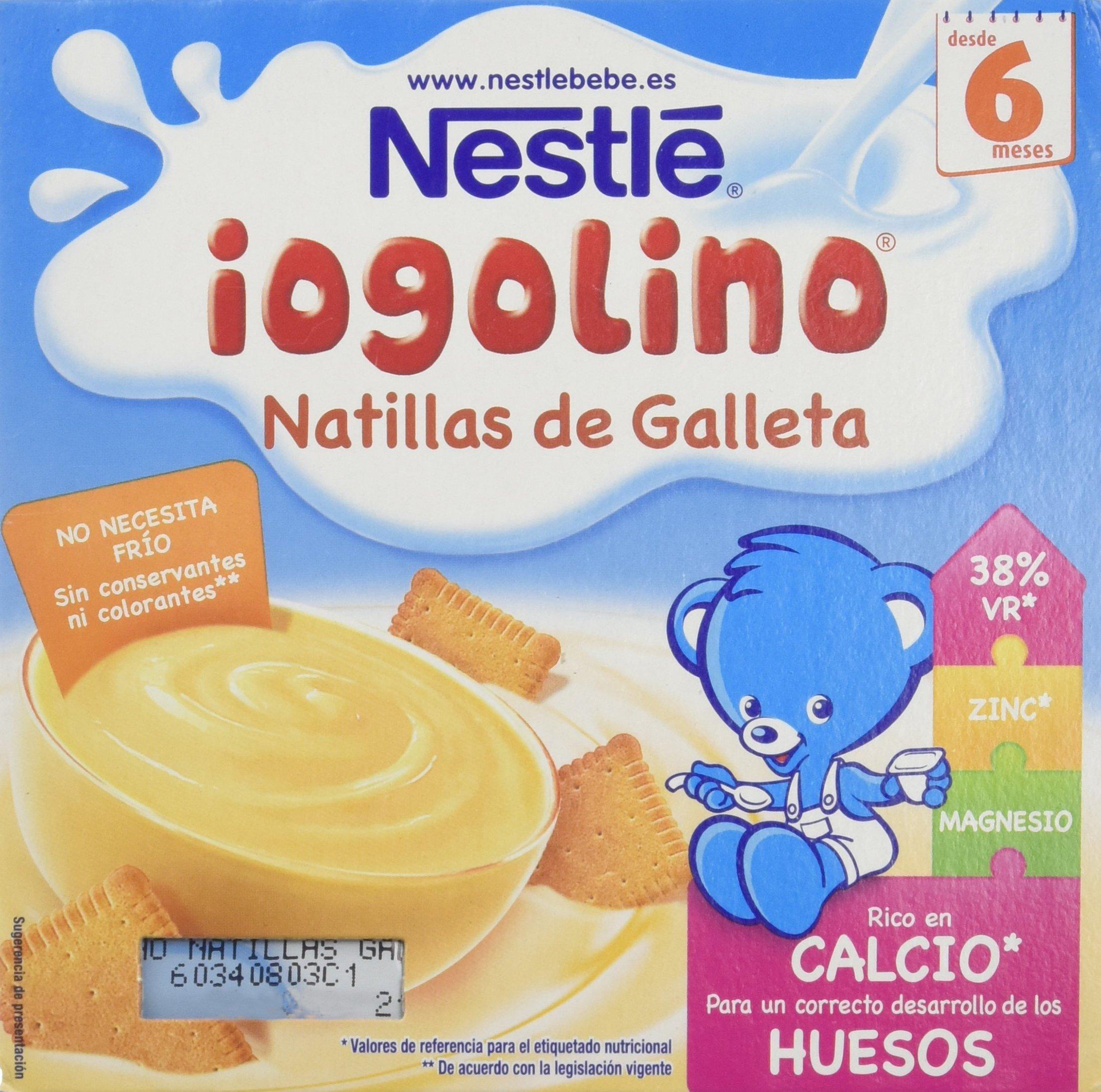 Nestlé Iogolino - Alimento infantil, natillas con galleta - Paquete de 4 x 100 gr - Total: 400 gr -