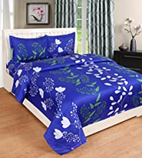 Weavewell Premium Printed Pollycotton Double Bedsheet with 2 Pillow Covers