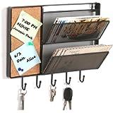 Portaoggetti da parete in rete metallica nera, porta lettere con bacheca in sughero e 5 ganci portachiavi