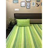 Rangbhar Handloom Double Bedsheet with Two Pillow Covers, Khadi Cotton Striped Double Bedsheet, Green - Durbar Collection by