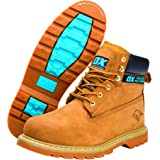 OX OX-S242508 Safety Boots - Industrial Grade Honey Nubuck Safety Boots with Steel Toe Cap - Tan - Size 8