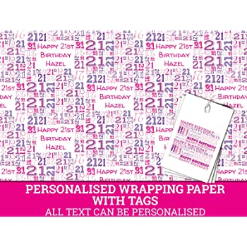 Pink Happy 21st Birthday Personalised Wrapping Paper