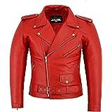 KA Wears Mens Leather Brando Jacket Red Biker Classic Motorbike Motorcycle Vintage Perfecto