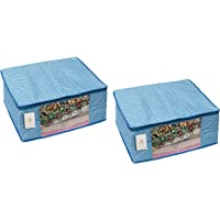 Homestrap 3 Layered Cotton Quilted Large Saree Cover (Pack of 2, Blue)