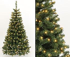 kunstpflanzen-discount.com Künstlicher Weihnachtsbaum Georgia grün 150cm mit 96 LED Lampen, 344 Zweigspitzen