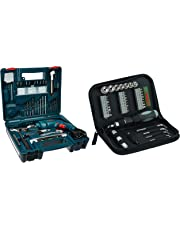 Bosch GSB 500W 10 RE Professional Tool Kit, MS and Plastic (Blue, Pack of 100) + Bosch Screwdriver Set (38-Pieces)