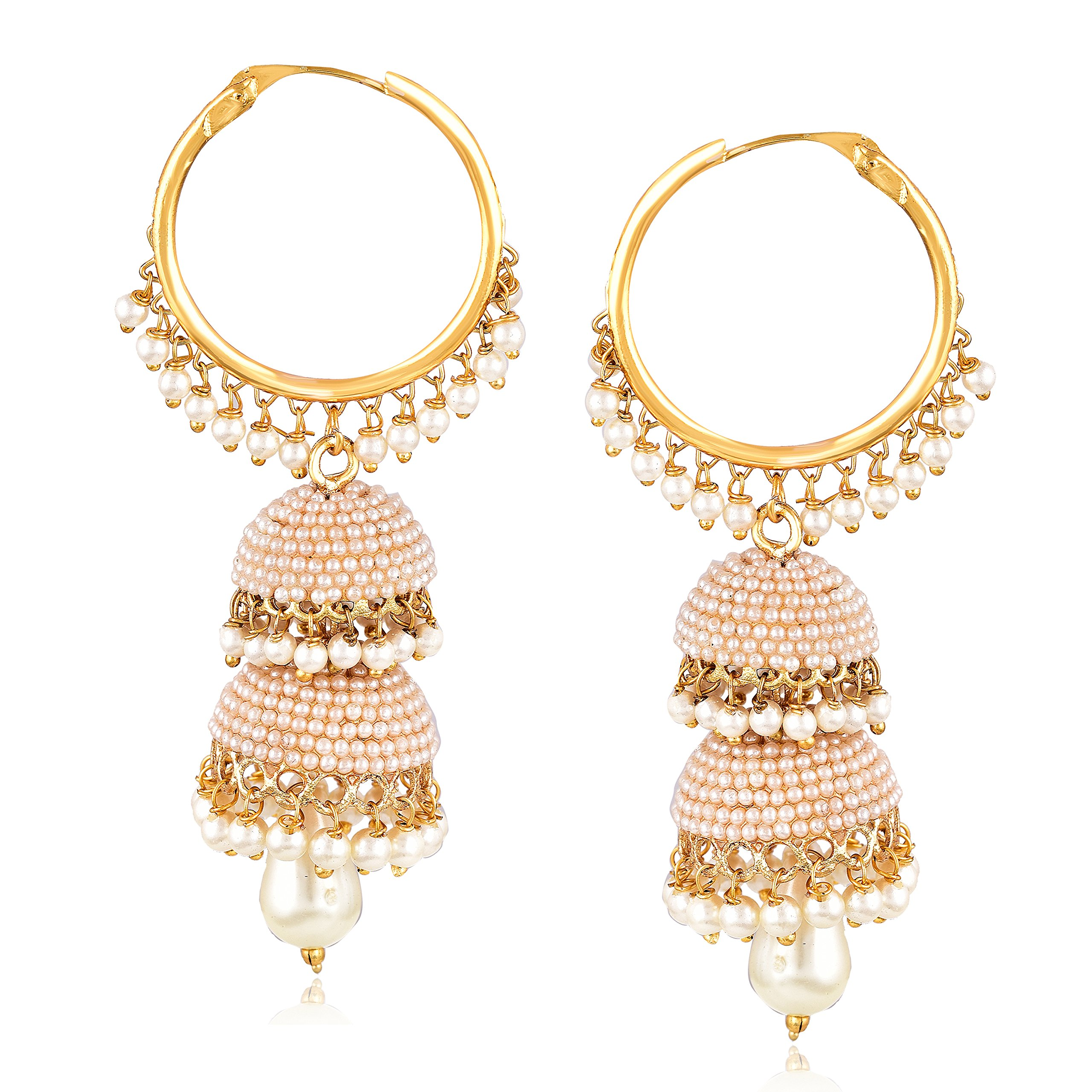 7873276b5a5f66 MEENAZ Fashion Jewellery Traditional Gold Plated Pearl Crystal Jhumki  Jhumka Earrings for Women Designer Jewellery Set