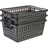 Amazon Basics 135769 Panier de Rangement en Plastique Multi Basket 25L, Gris, 3
