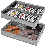Rangement sous Lit pour Range Chaussures Gain de Place Lot de 2, Pour 16+4 Paires de Bottes, Grande Boîte de Rangement, Sac R