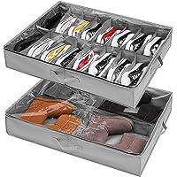 Lot de 2 boîtes de rangement à chaussures pour dessous de lit - Pour 16 + 4 paires de bottes - Avec poignées renforcées…
