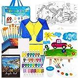 Paquete de 69 juegos de pintura para niños, juego de arte Shuttle Art para niños con pintura acrílica de 30 colores, caballet