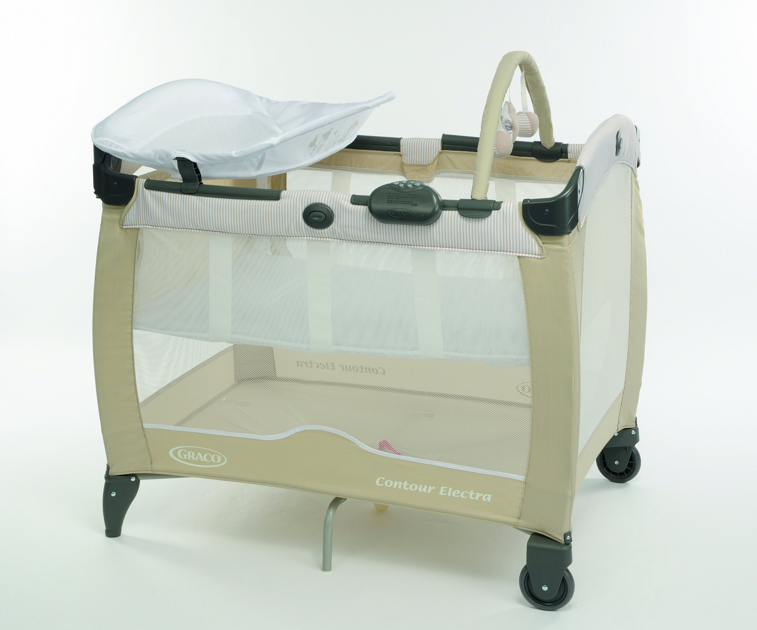 Graco Contour Electra Travel Cot - Benny and Bell Graco The bassinet is suitable from birth to 6.5 kg/3 months The bed is suitable from birth to about 3 years/15 kg Detachable control box for night light, music and vibration 3