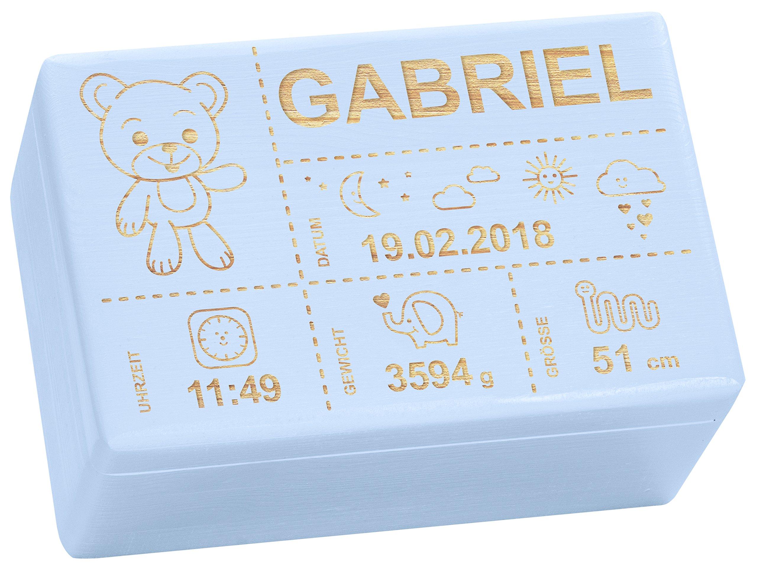 Holzkiste mit Gravur - Personalisiert mit ❤ GEBURTSDATEN ❤ - Blau, Größe M - Teddybär Motiv - Erinnerungskiste als Geschenk zur Geburt - LAUBLUST® 14