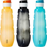 Amazon Brand - Solimo Plastic Water Bottle Set with Flip Cap (Set of 3, 1L, Circular Pattern)