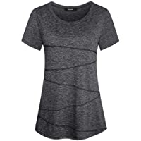Sykooria Women's Workout Running Yoga T-Shirt Activewear Gym Athletic Short Sleeve Tops Sports Tee