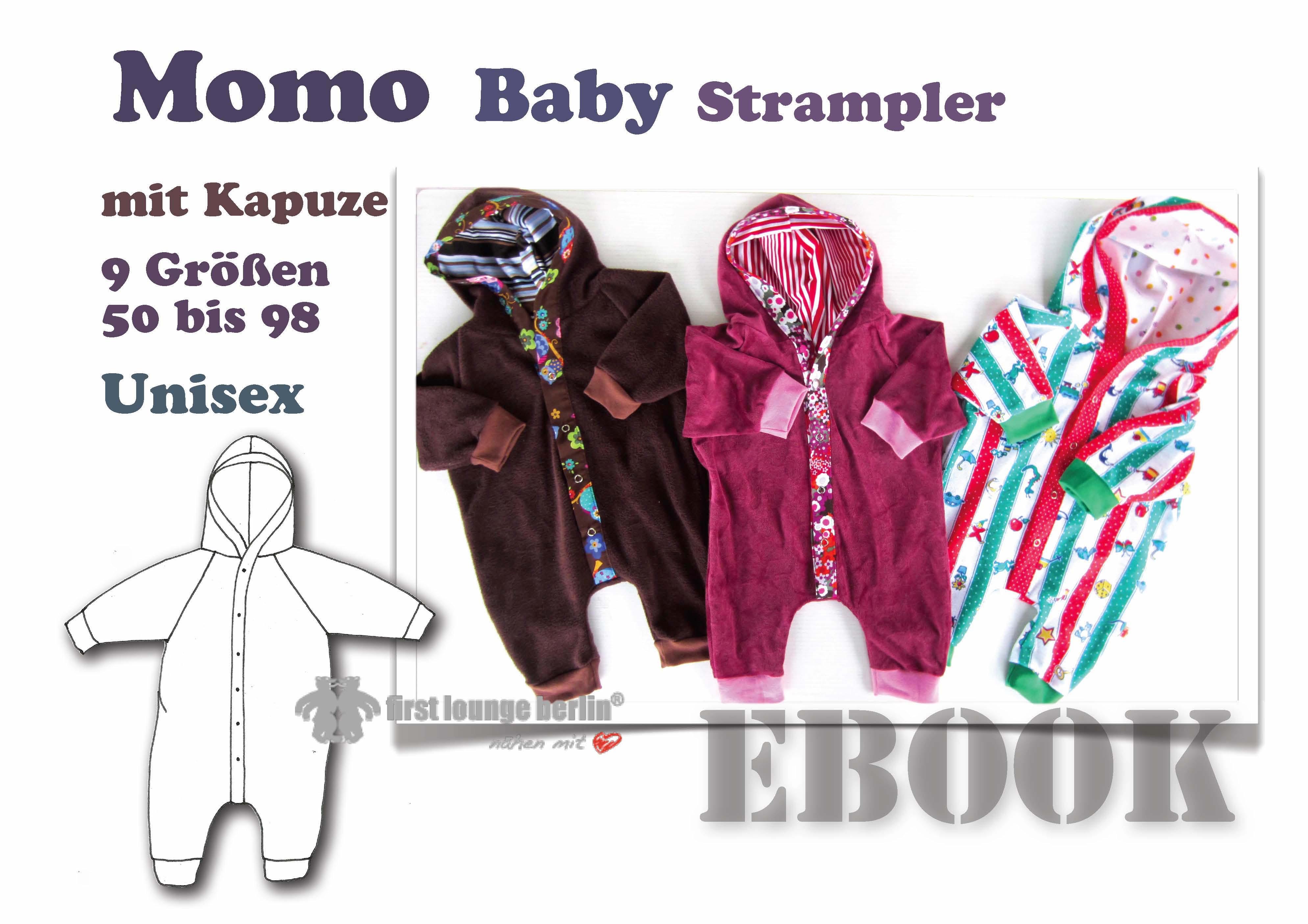 Preisvergleich Produktbild Momo Nähanleitung mit Schnittmuster für Baby Strampelanzug mit Kapuze in 9 Größen 50-98 [Download]