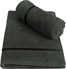 Story@Home 100% Cotton Soft Towel Set of 2 Pieces, 450 GSM - 2 Hand Towels - Charcoal Grey