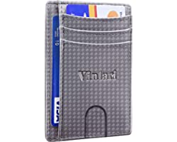 RFID Card Holder Wallet, Slim Plaid Travel Credit Card Holder Wallet for Men, Mens Business Bank Card Holder Wallet(Grey)