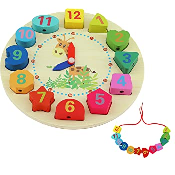 QH-Shop Orologio In Legno Giocattoli,Orologio Educative con Corda Numeri e Forme per Bambini