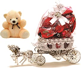 Skylofts Beautiful Horse Chocolate Decoration Piece Gift ( 10pcs chocolates) (with teddy)