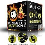 DILAW® Shisha Kohle | 1KG 64 Würfel | Größe 26er Cubes | Premium Kokosnuss Naturkohle bis zu 120 Minuten Brenndauer